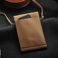 High quality fashion first layer leather bag for mobile phone , cell phone neck hanging bag