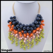 2014 hot new product, aliba wholesale product, multi-color costume jewelry necklace