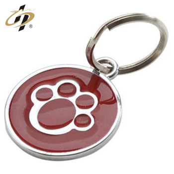 Hot sale custom logo enamel metal pet keyring for wholesale