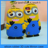 minion 3d silicone case despicable me minion case for touch 5 ipod touch 5(PT-iT5208)