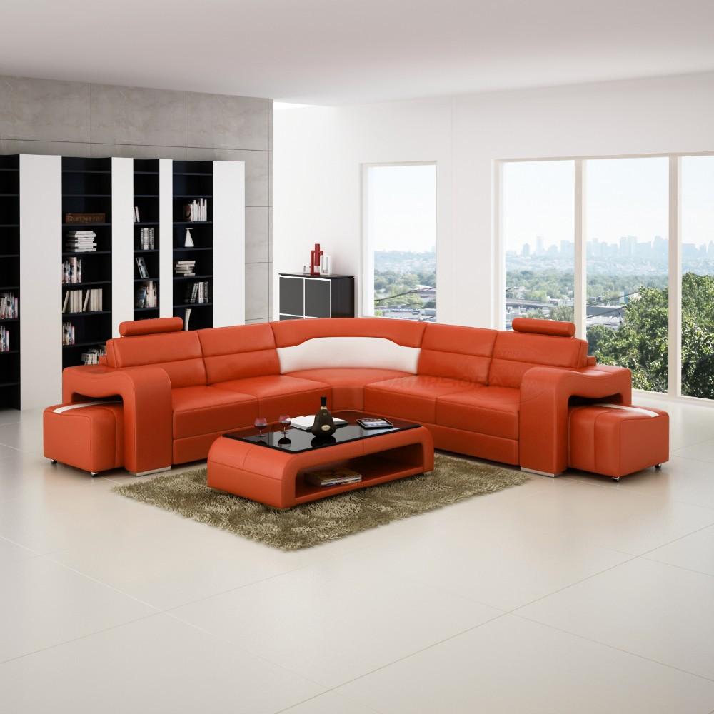 2014 New Designes Living Room Furniture Leather Corner Sofa Designs