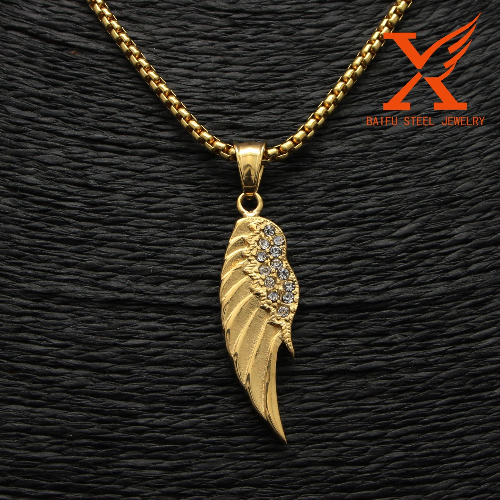 2016 Factory Sale Vintage Angel Wing Shape 14K Gold Fashion Pendant Wholesale Stainless Steel Jewelry