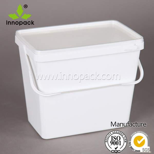 1 gallon/4 liter rectangular plastic pail paint bucket with lid
