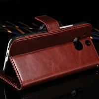 Crazy Horse Classic Genuine Leather Flip Cover Wallet Phone Case for HTC M8