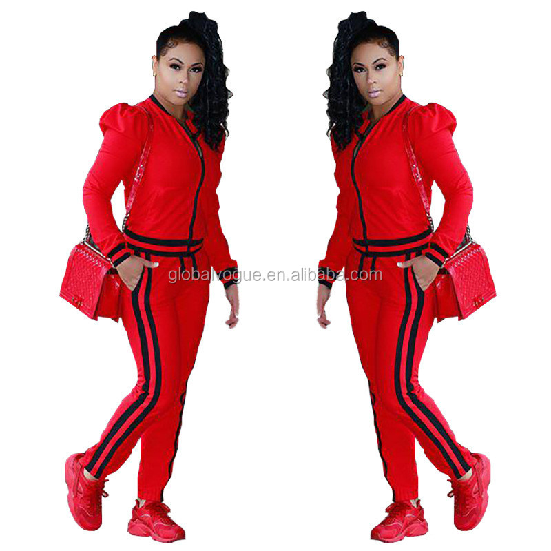 2016 fashion ribbon multicolor lantern sleeve sports and leisure suits