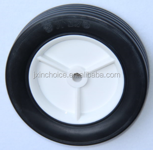 7 inch solid rubber wheels with white plastic hub for lawnmower replacement