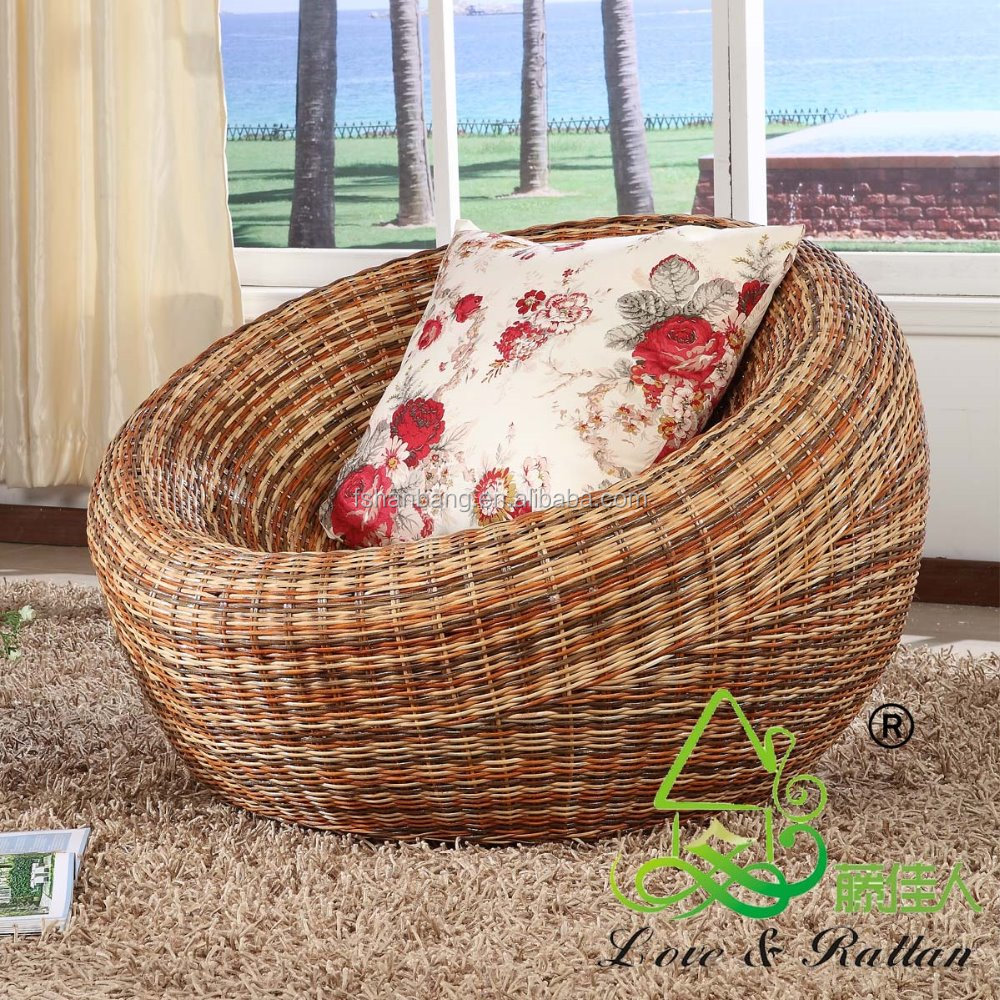 Seagrass Living Room Furniture Super Comfortable Living Room Rattan Papasan Chair With Cushion