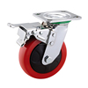 220kg-400kg capacity range pu heavy duty caster wheels with metal brake