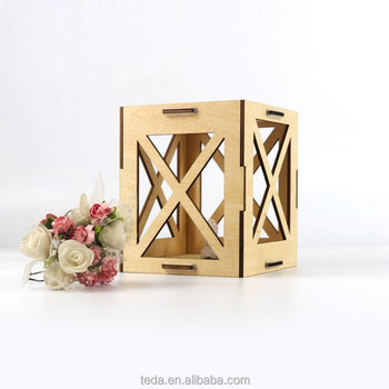 Wooden decorative candle holder