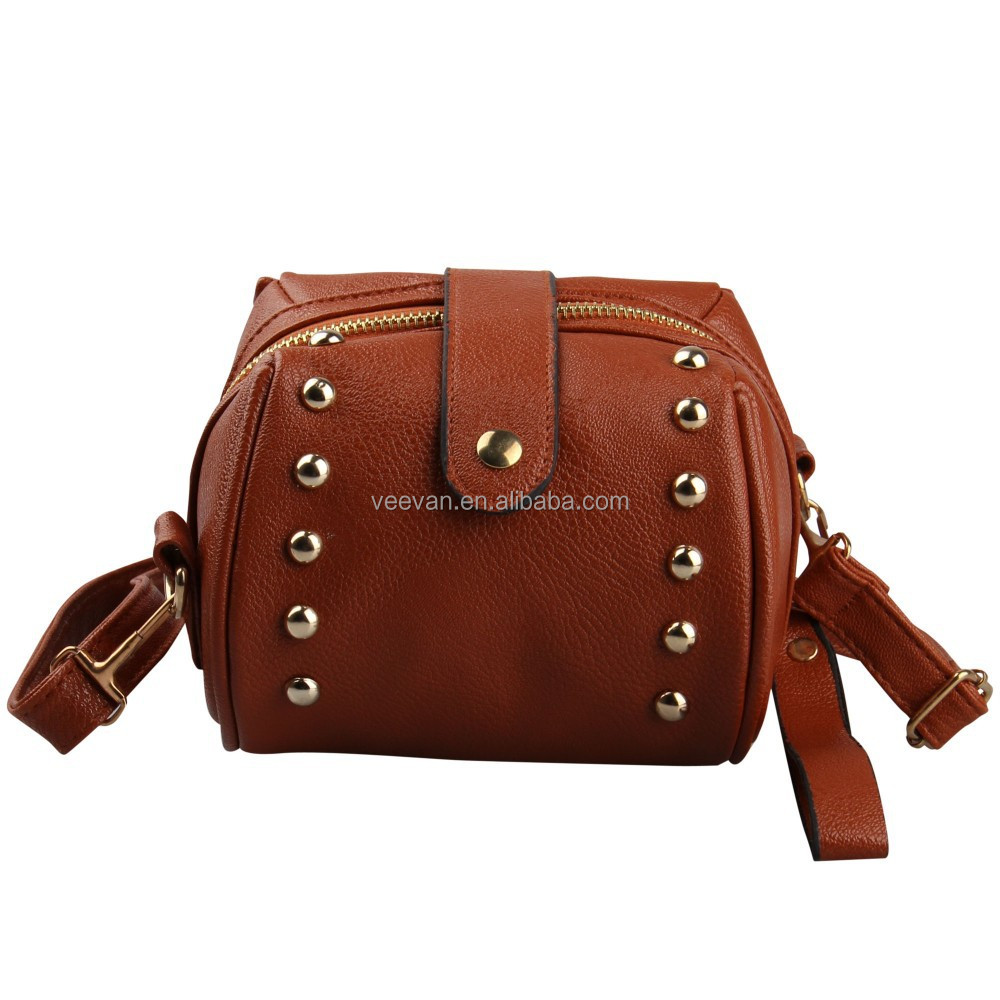 Brown college student shoulder bag for ipad mini, woman shoulder bag