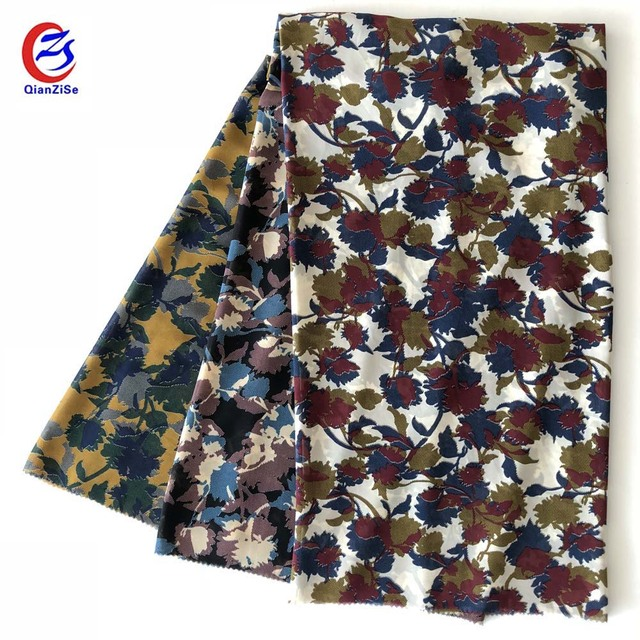 Cheap camouflage flower design printing fabric chiffon for women dresses and tops
