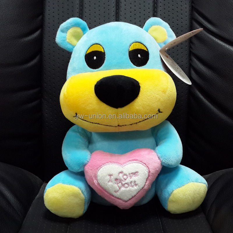 lovely blue sitting dog with heart plush toys