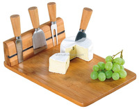 Wholesale Bamboo Cheese Board with Magnetic Cheese Board Chopping Slicing Knife Set Natural Bamboo Excellent Houseware Cheap