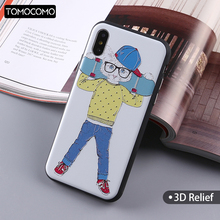 TOMOCOMO Cool Cat Case For iPhone 7 6 6s Plus 5 5s Cases 3D Relief Rubber Middle Finger Cover For iPhone 8 8Plus Coque Cover