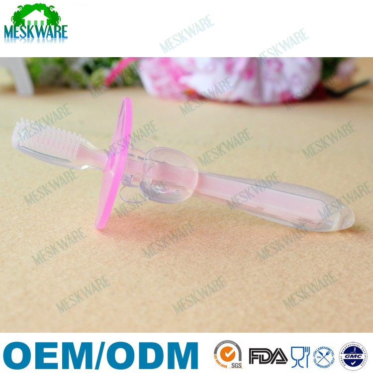 Infant training soft silicone rubber baby toothbrush