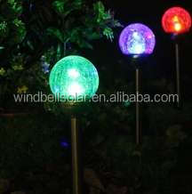 outdoor standing solar lamp with color changing solar glass ball lamp for garden solar lawn lamp solar garden light