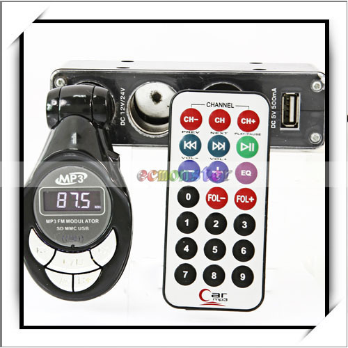 Car MP3 Music Player FM Transmitter Modulator with USB SD TF Slot Black