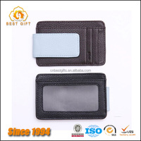 Custom Good Quality Magnetic Leather Wallet Money Clip