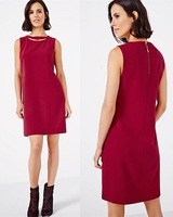 Sleeveless Cutout Around Neck Structured Shift Midi Dresses For Office Ladies Casual Wear