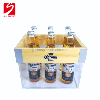 hot selling personalized plastic custom ice bucket with wood top