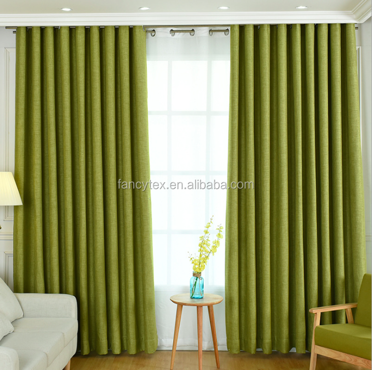 high blackout 95% soild curtain fabric customized faux linen cotton curtain modern European style luxury hotel curtain