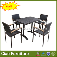 Outdoor dining set plastic wood table teak wood chair