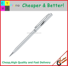 Top sellers promotional logo printed metal thin body pen promotional hotel pen
