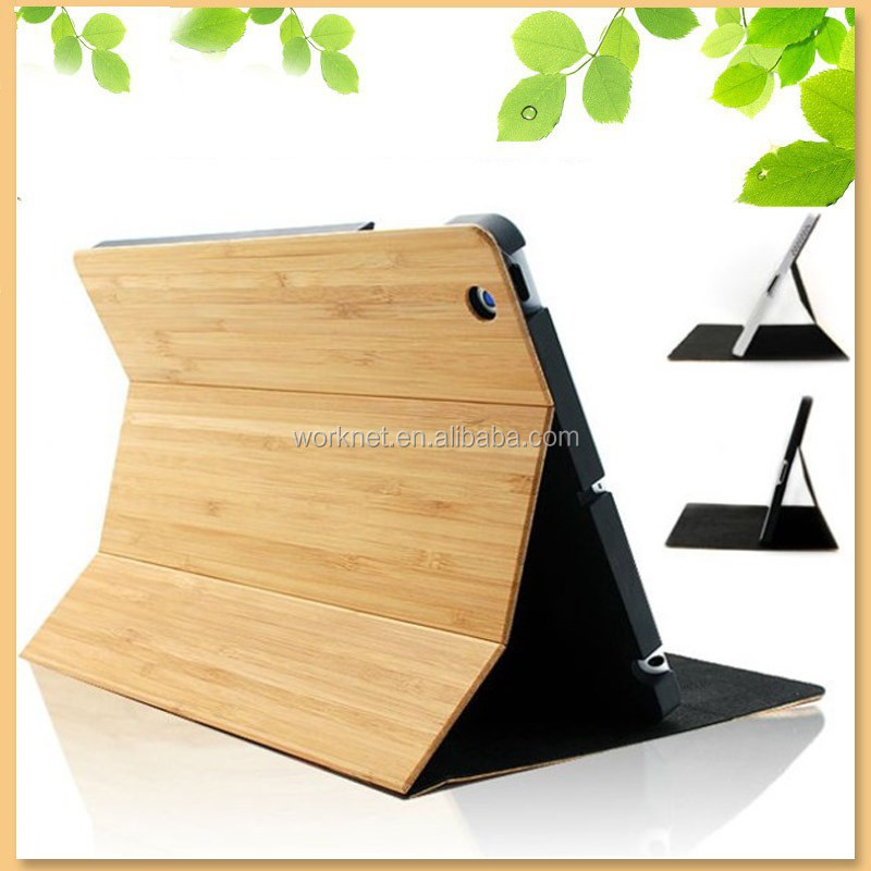 folio cross grain folding bamboo case for ipad mini smart case cover with stand and wake /sleep for iPad Mini 1/2/3