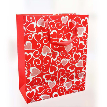 150gsm craft paper custom printed gift bags for valentine's day 12.5 x 6 x 17cm