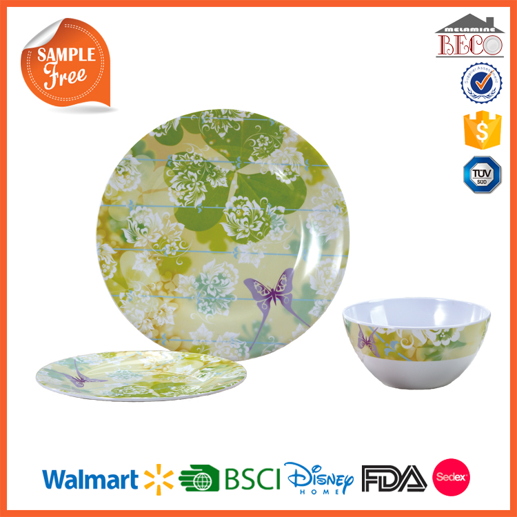China Kitchen Wares Wholesale Plastic Melamine Custom Printed Dinnerware