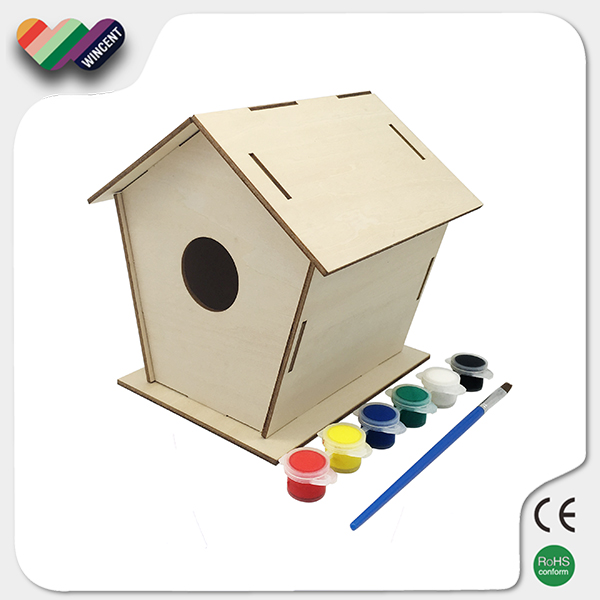 DIY Painting Plywood Birdhouse Kits For Kids Educational Toy