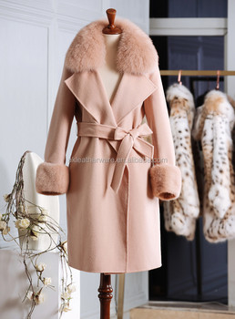 Fur Collar Trim Camel Wool Cashmere Trench Coat