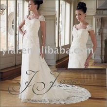 2012 Beautiful Cap sleeves a-line lace bridal wedding gown JJ2262