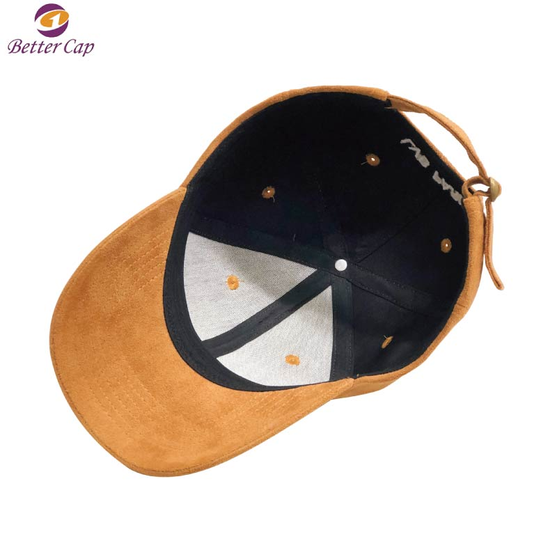6 Panel suede material cap custom embroidered wholesale hat and cap