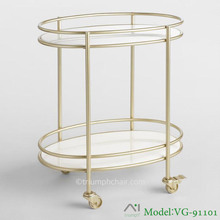Triumph Champagne Gold Metal And White Marble Bar Cart, hotel tea trolley with wheels hotel furniture