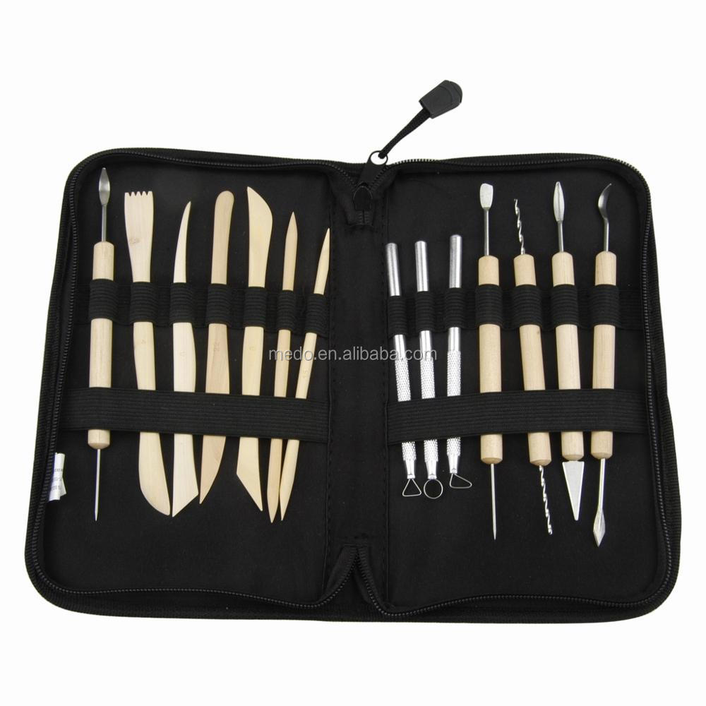 High Quality Wooden Metal Pottery sculpting carving Clay Modeling Tools 14 PC