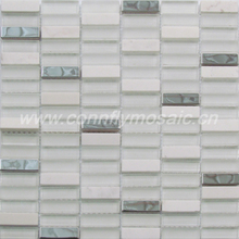 White glass marble stainless steel mosaic tile