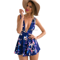 Wholesale Rayon Beach Style Floral Rompers Women V Neck Tank Clothes One piece Sexy Jumpsuits