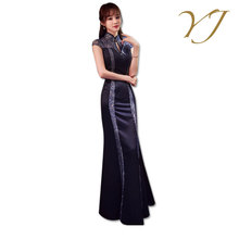 2017 new design traditional flowing silk long cheongsam chinese dress