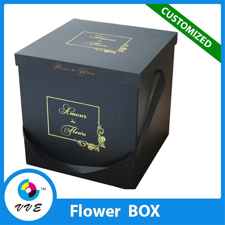 square shape paper flowers box craft kraft paper black/ white cardboard box for rose flower packaging