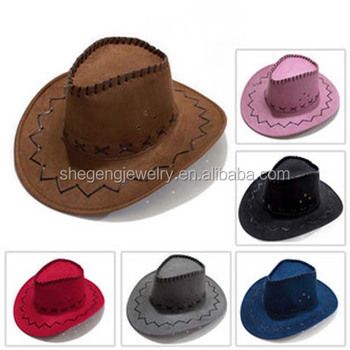 Vintage Men's Western Cowboy Faux Suede Leather Hat