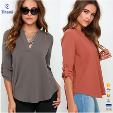2017 Hot New Design Products Summer Women Elegant Chiffon Top Shirt Long Sleeve V Neck Blouses Fashion Lady Plus Size Blouse