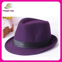 2015 custom outdoor sunday hat flat top purple fedora hat for women