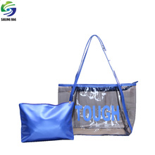 Custom transparent jelly pvc beach tote handbag beach bag with zipper closure