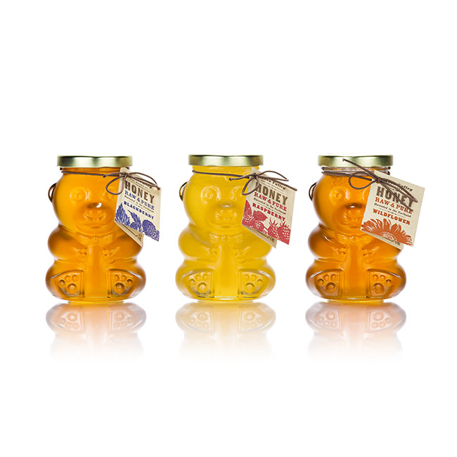 Free sample 250ml clear bear shape glass honey jar with lid for sale