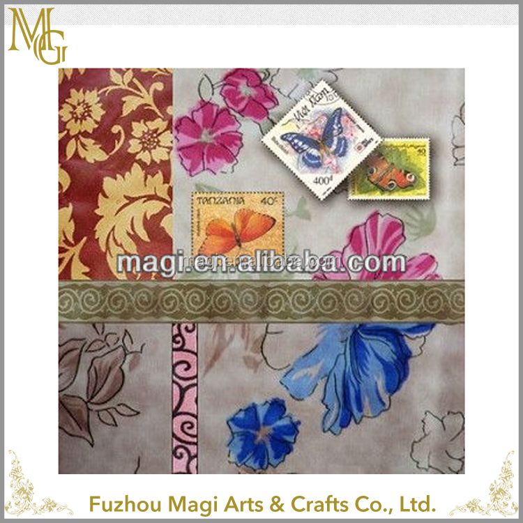 Frame less Design Handmade Beautiful Butterfly and Flower Painted oil painting on canvas