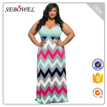 Wholesale cheap light blue top mature women plus size maxi dress