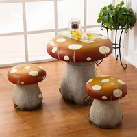 22.5 inch Children Polyresin Mushroom Garden Table and Chairs