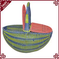 Unique watermelon style plastic wicker woven picnic basket for sale