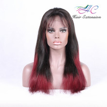 Wholesale Cheap 99J Brazilian Long Human Hair Full Lace Wigs With Bangs For African American Black Women